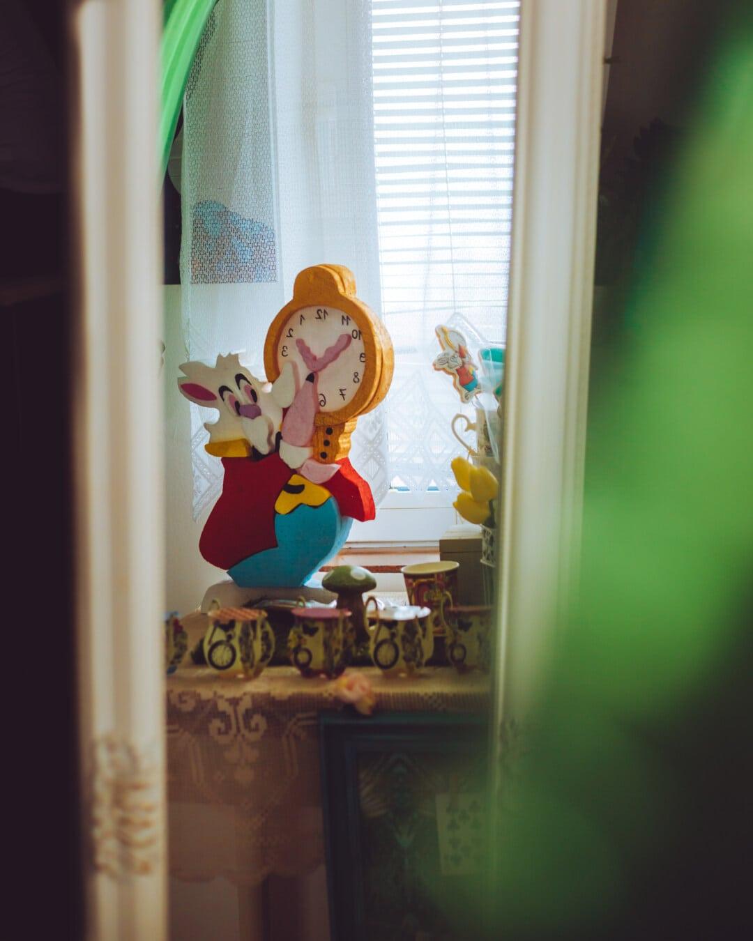 Bunny, Ostern, lustig, Spielzeug, Spiegel, Reflexion, Fenster, Kunst, Spielzeug, drinnen