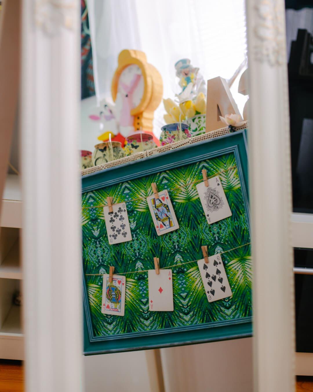 indretning, dekoration, spejl, ramme, refleksion, møbler, kort, kunst, indendørs, farve