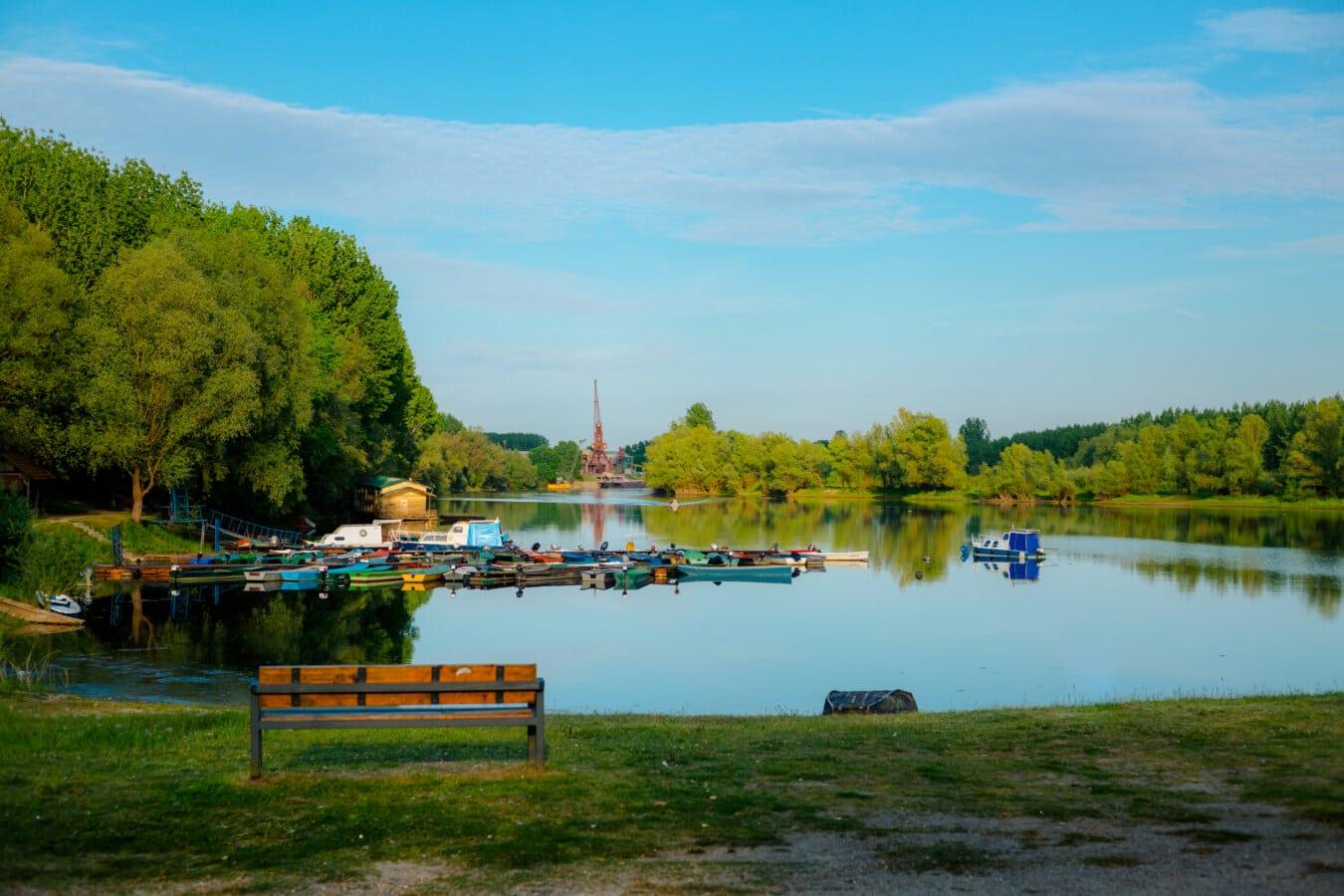 Hafen, Frühling, am See, Sitzbank, Panorama, Ufer, Landschaft, Bootshaus, See, Wasser