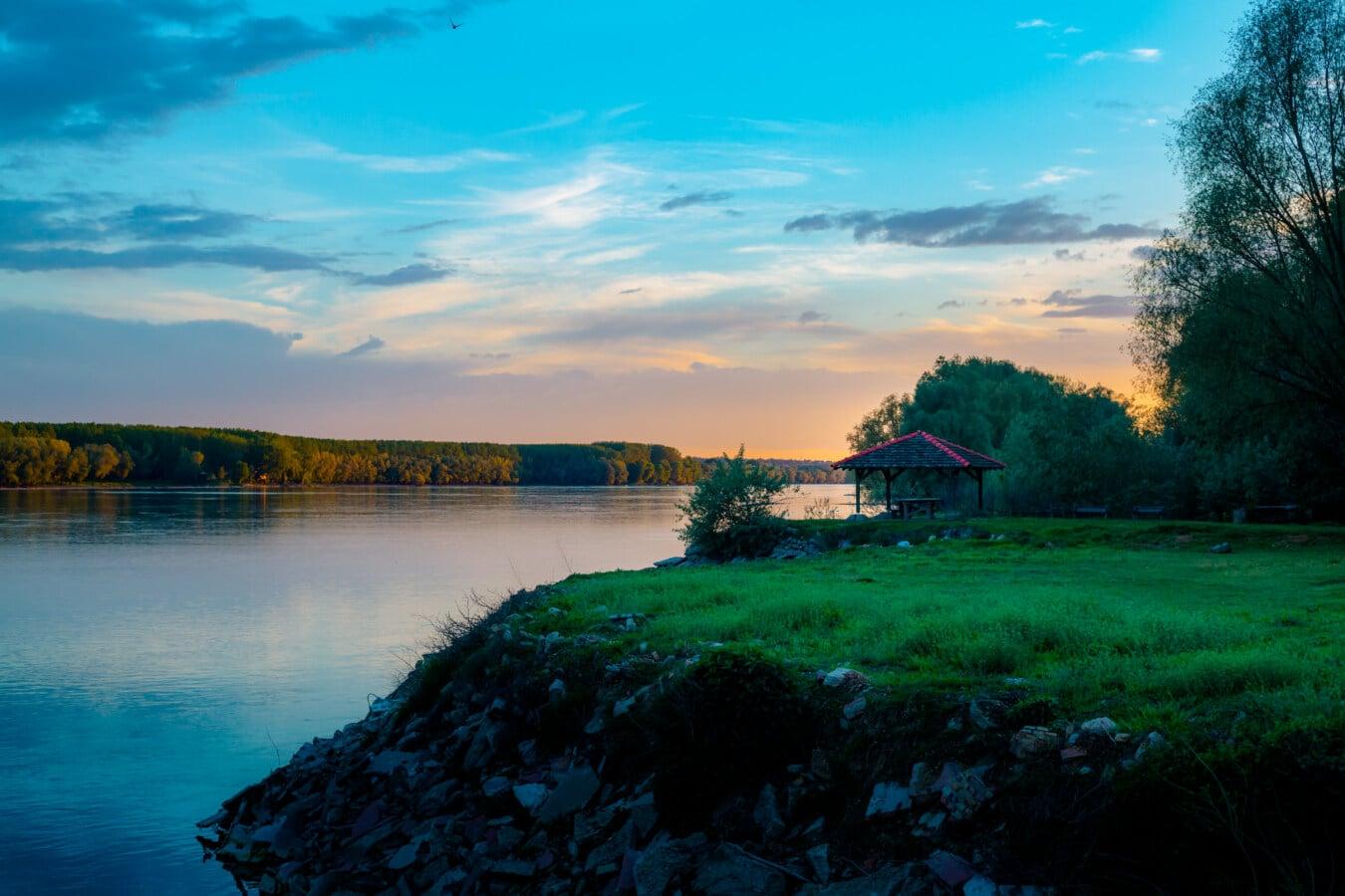 berge, zone de villégiature, crépuscule, crépuscule, Lac, eau, paysage, coucher de soleil, aube, nature