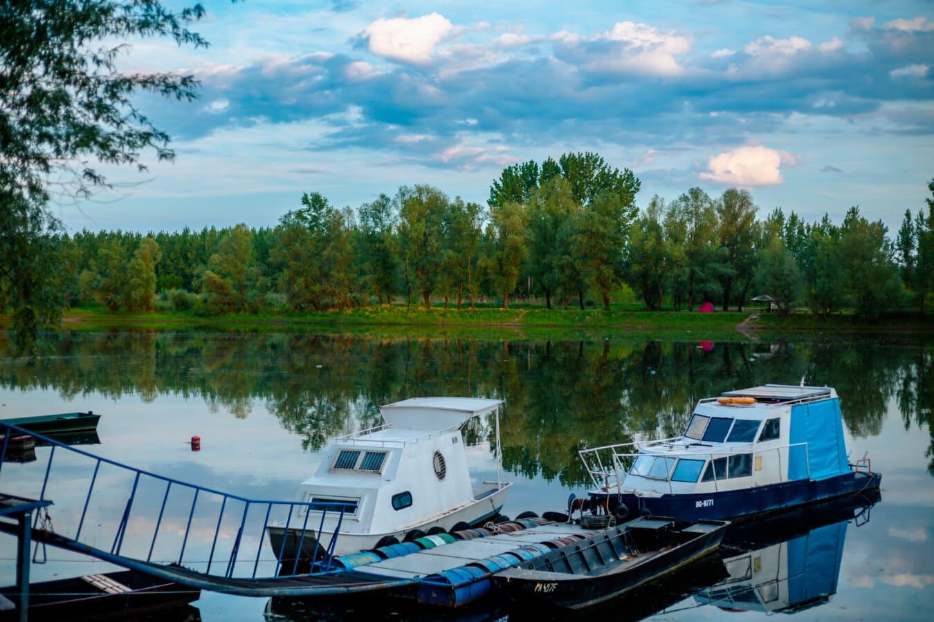 boat, water, marina, lake, summer, nature, river, outdoors, reflection, vehicle