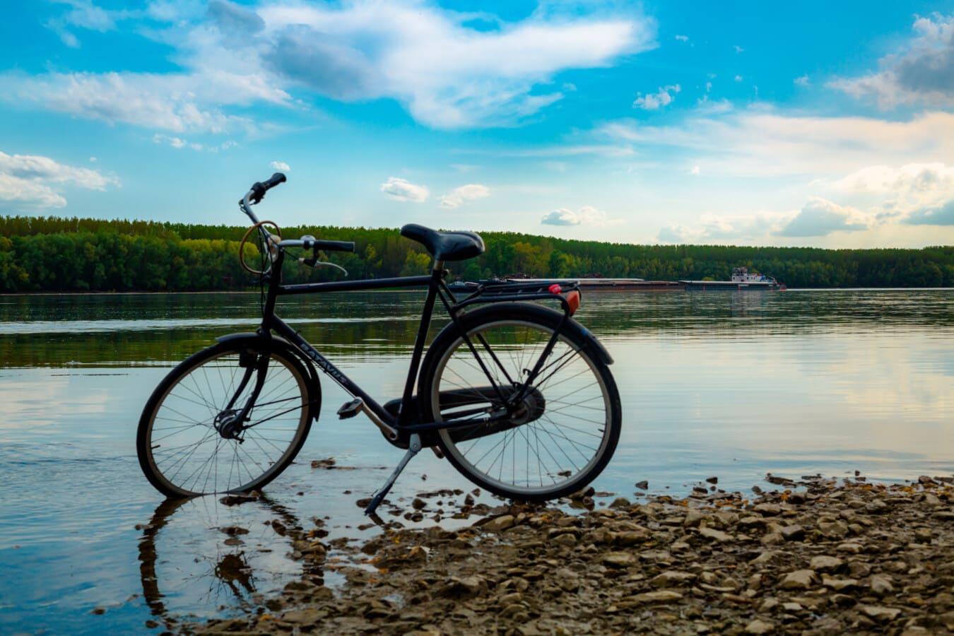 riverbank, river, bicycle, pebbles, beach, cycling, wheel, bike, lake, water