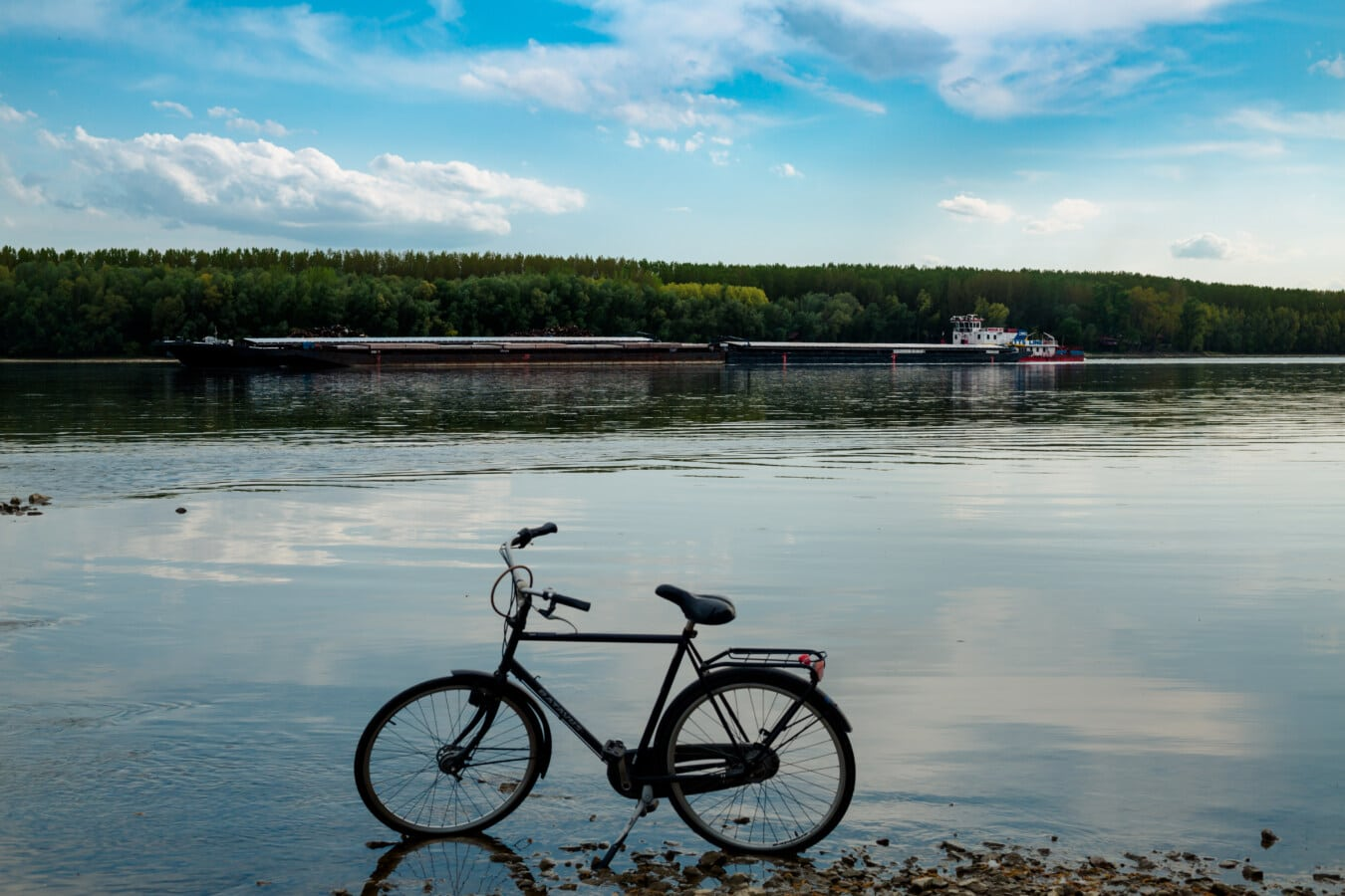 Lastkahn, Frachtschiff, Transport, Fluss, Danube, Fahrrad, Flussufer, Wasser, Reflexion, Rad