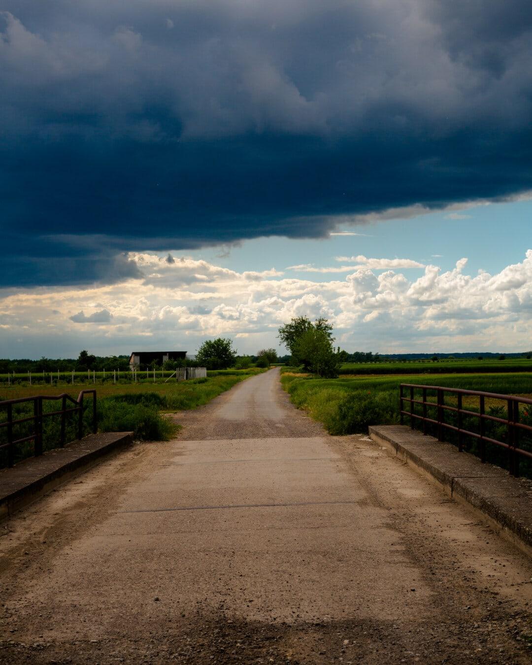 asphalte, chaussée, Itinéraire, dramatique, mauvais temps, pont, paysage, piste, rue, nature
