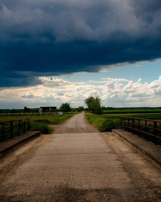 asfalt, carosabil, drumul, dramatice, vreme rea, Podul, peisaj, piesa, strada, natura