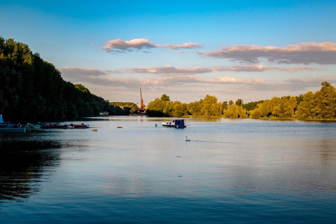člny, pri jazere, súmraku, pokojný, atmosféra, voda, Príroda, breh, západ slnka, jazero
