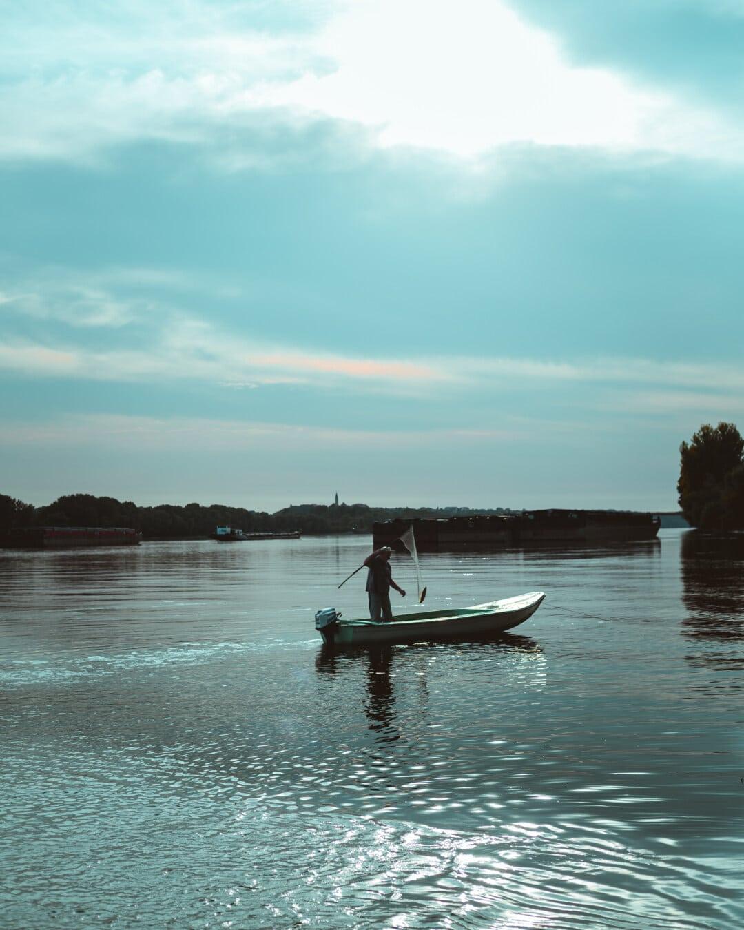 rybár, ryby, rybársky výstroj, Rybolov, rybársky čln, zariadenie, voda, loďou, kanoe, vodné skútre