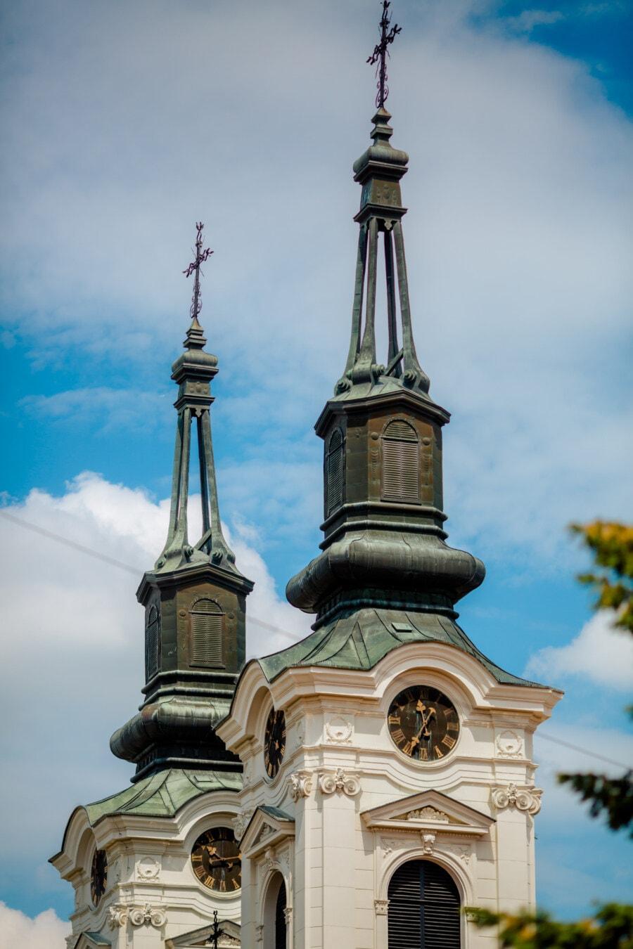 cathédrale, orthodoxe, steeple, Christianisme, baroque, Croix, toit, religion, architecture, dôme