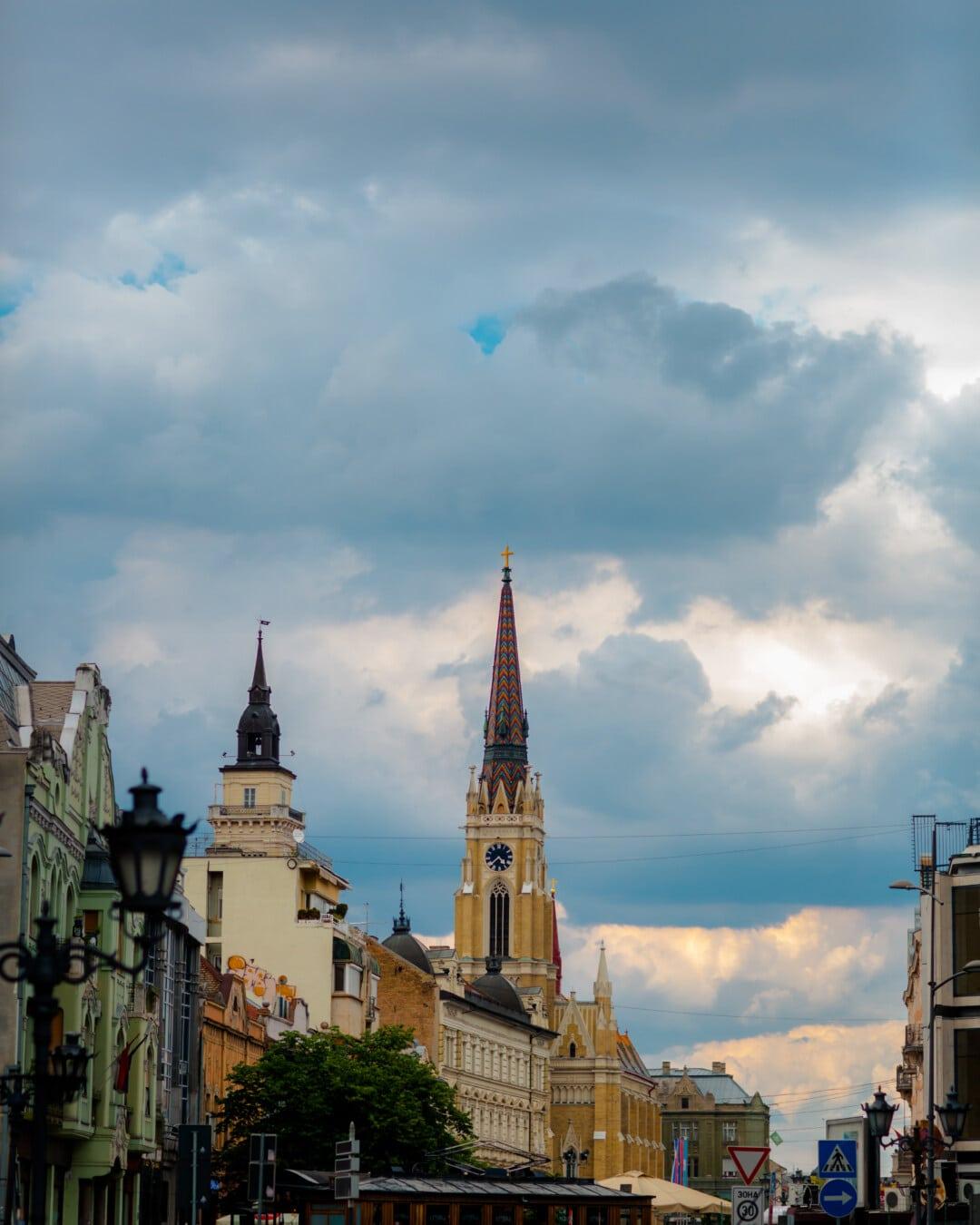 Panorama, Straße, Gebäude, Turm, kathedrale, Architektur, Religion, Kirche, alt, Stadt