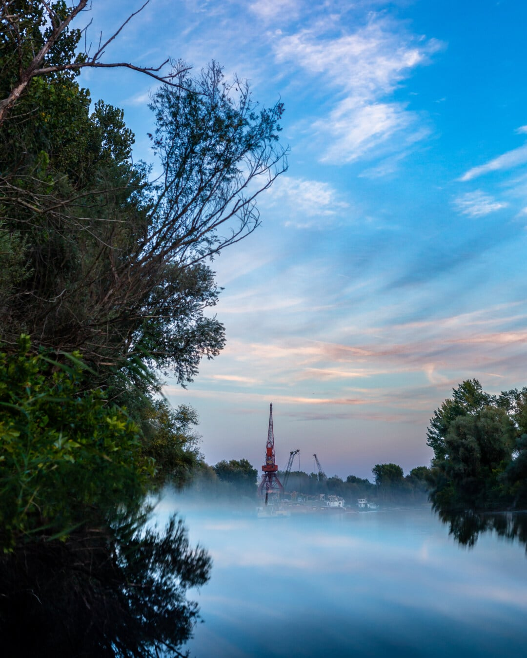 idyllic, foggy, lakeside, harbour, industrial, machinery, tree, shore, water, landscape