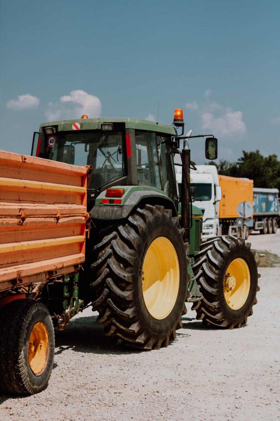 Traktor, Anhänger, Fracht, industrielle, Versand, Fahrzeuge, schwere, Fahrzeug, Maschine, Branche