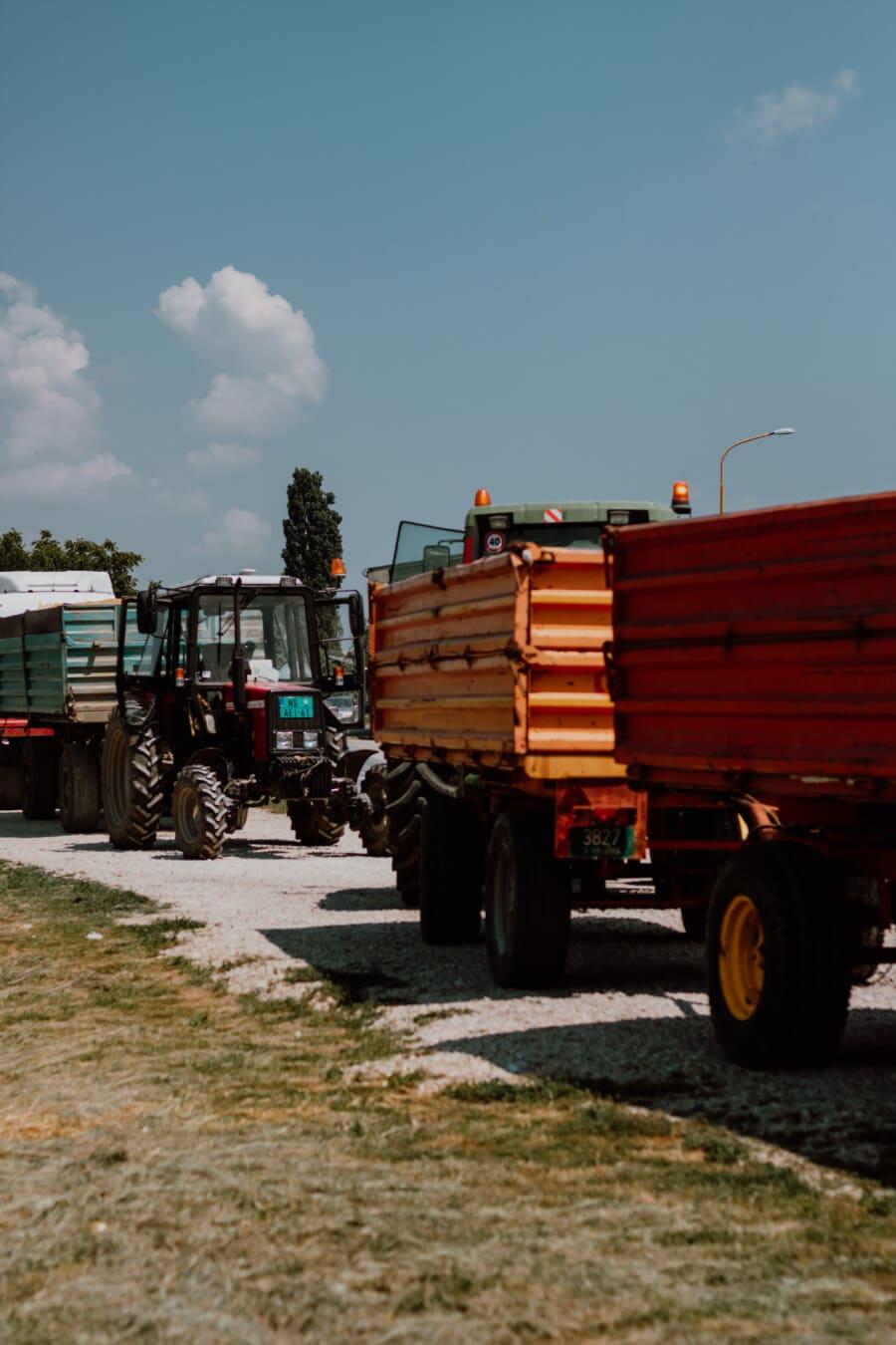 Fahrzeuge, Traktor, Parkplatz, Transport, schwere, Anhänger, industrielle, Maschine, Fahrzeug, LKW
