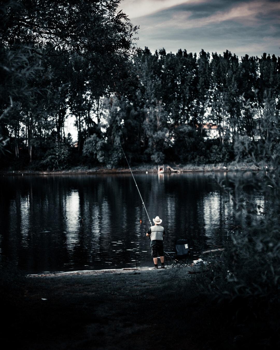 fishing, fisherman, recreation, placid, resort area, landscape, water, lake, reflection, monochrome