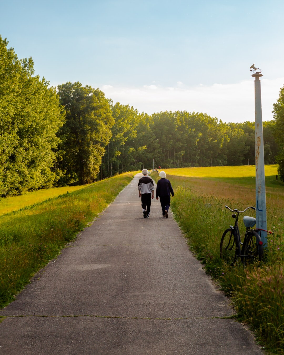 Rentner, ältere Menschen, Mann, Erholung, Frau, Straße, Fuß, Asphalt, Landschaft, Moped
