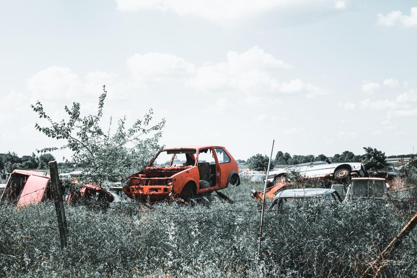 voitures, abandonné, indésirable, vieux, Junkyard, rouille, metal, déchets, industriel, voiture