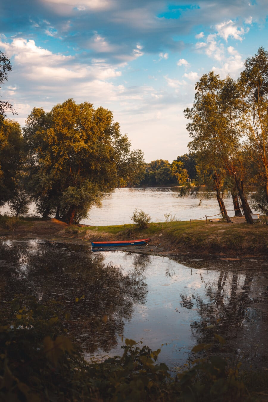 riverbank, river, river basin, autumn season, river boat, water, forest, tree, landscape, autumn