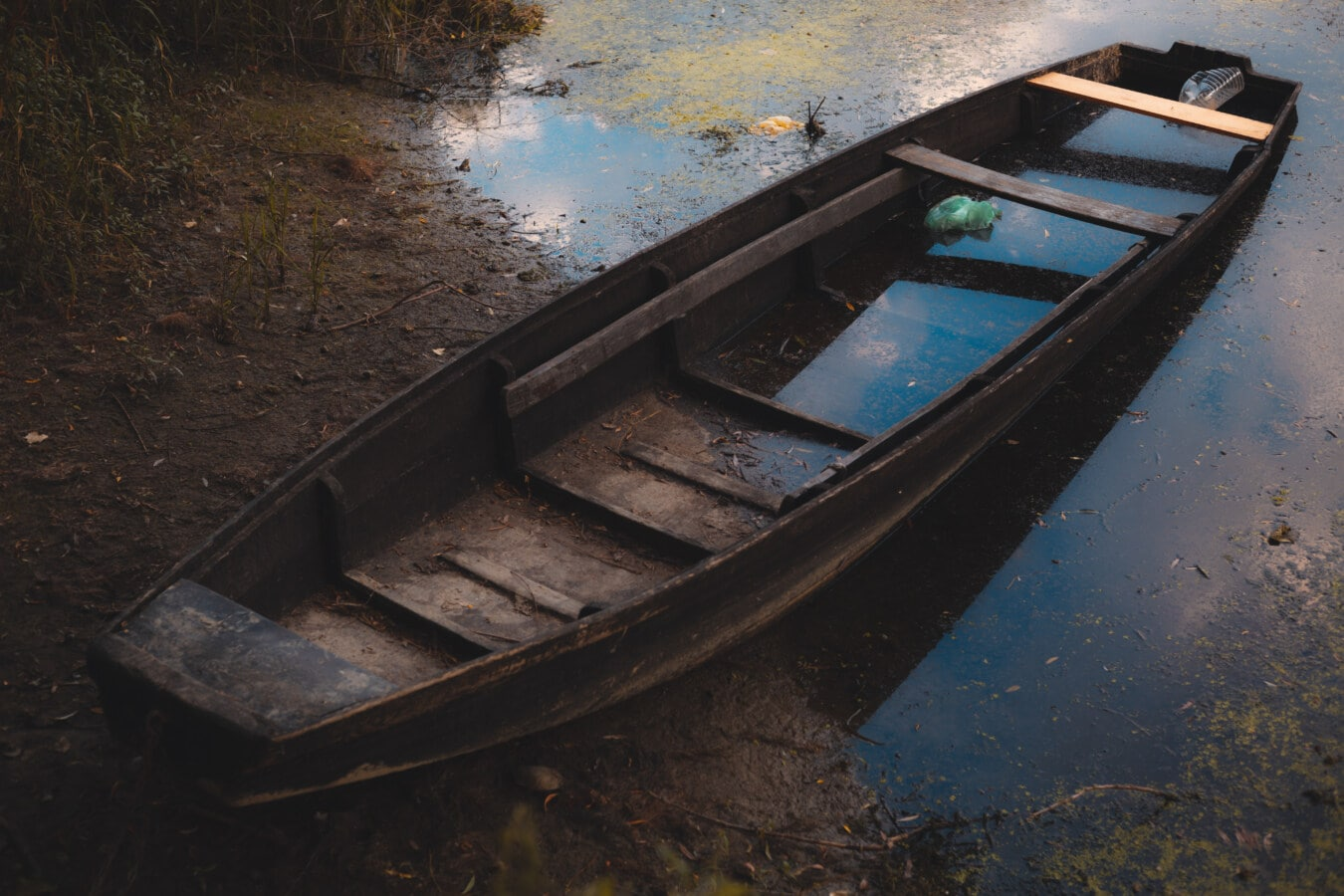 fishing boat, wooden, abandoned, old, flood, water, boat, river, watercraft, beach