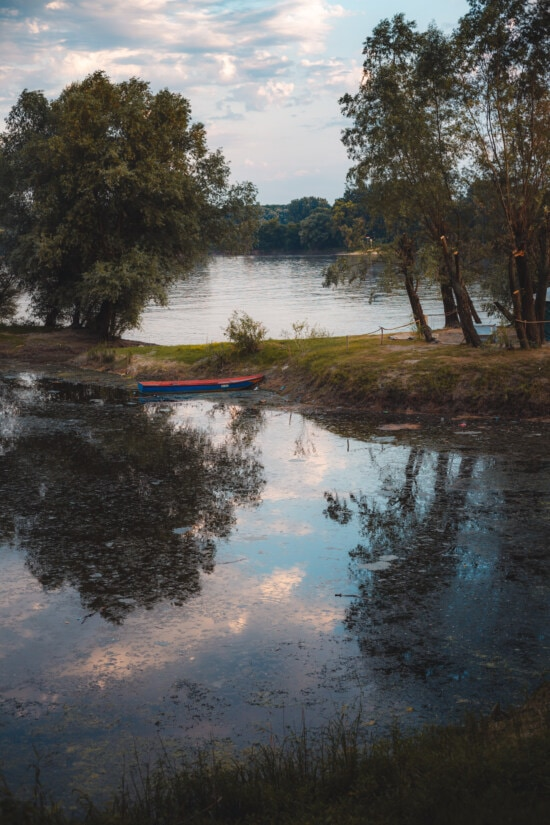 riverbank, river boat, wooden, boat, forest, water, tree, reflection, landscape, river