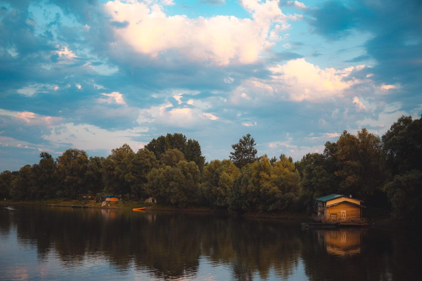 nad jeziorem, dom na łodzi, Zmierzch, Ośrodek, odbicie, Rzeka, krajobraz, wody, szopa, Jezioro