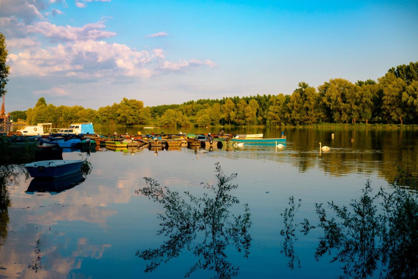 calme, au bord du lac, crépuscule, soirée, port, placide, atmosphère, réflexion, eau, paysage