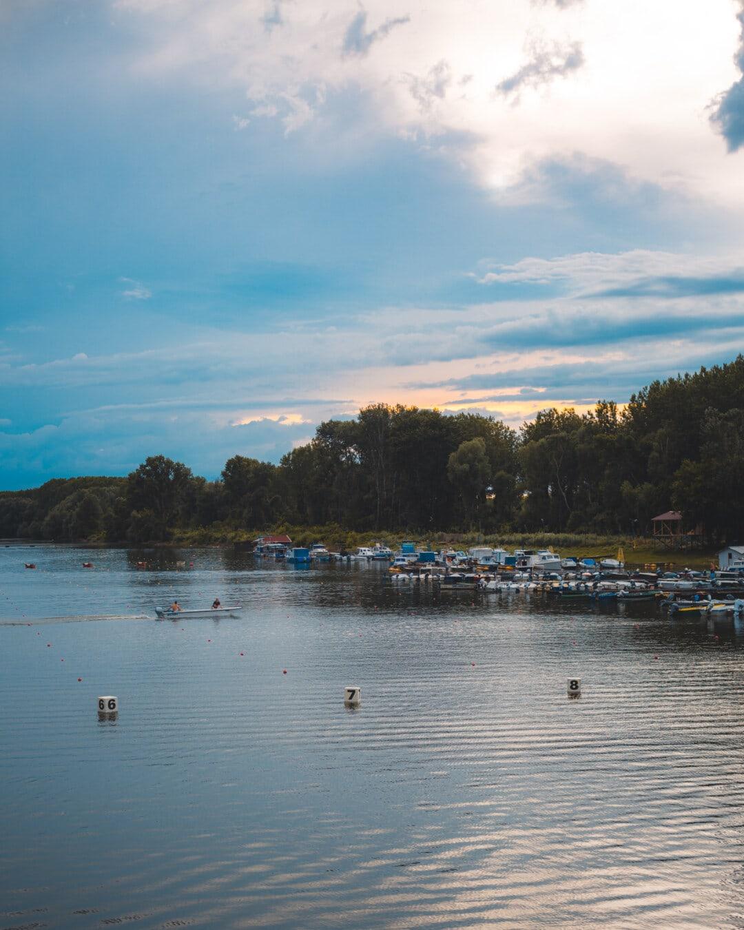 järven puolella, satama, iltapäivällä, veneet, keskuksen alueella, maisema, vesi, järvi, Shore, joki