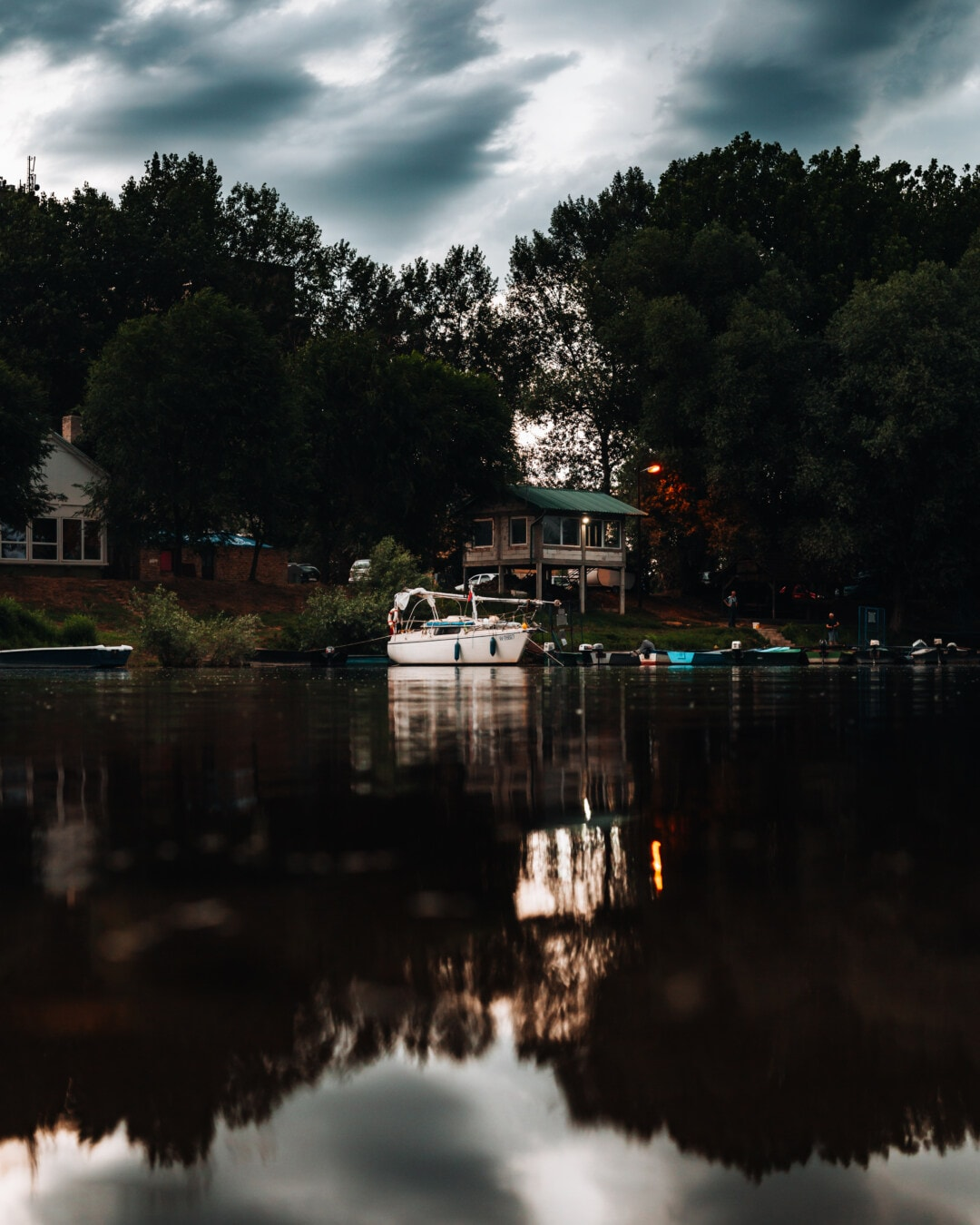 evening, dusk, lake, resort area, harbour, water, building, boathouse, reflection, tree