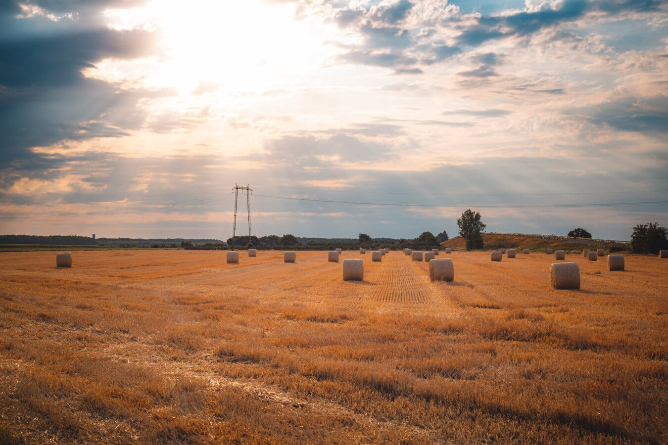 Sonnenlicht, Sonnenschein, Sommersaison, Heuhaufen, Heu-Feld, Hay, Landwirtschaft, Landschaft, Sonnenuntergang, Feed