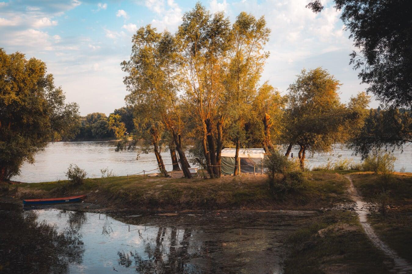 Zelt, Camping, Flussufer, Flussschiff, Fluss, Wildnis, Tierwelt, Wald, Herbst, Landschaft