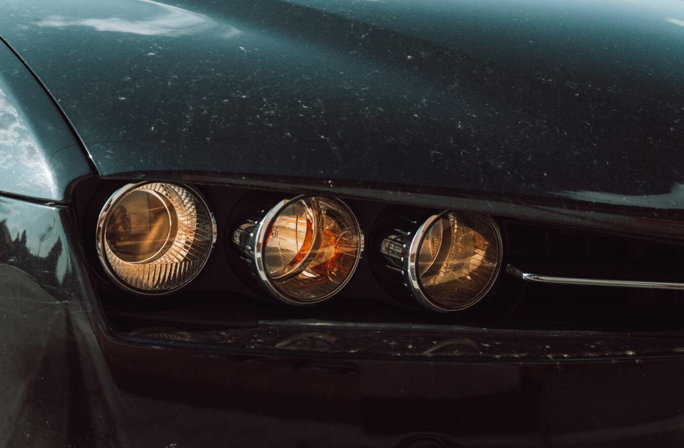 ヘッドライト, 三, 車, 間近, 金属, ペイント, 光, 車両, 自動車, 反射