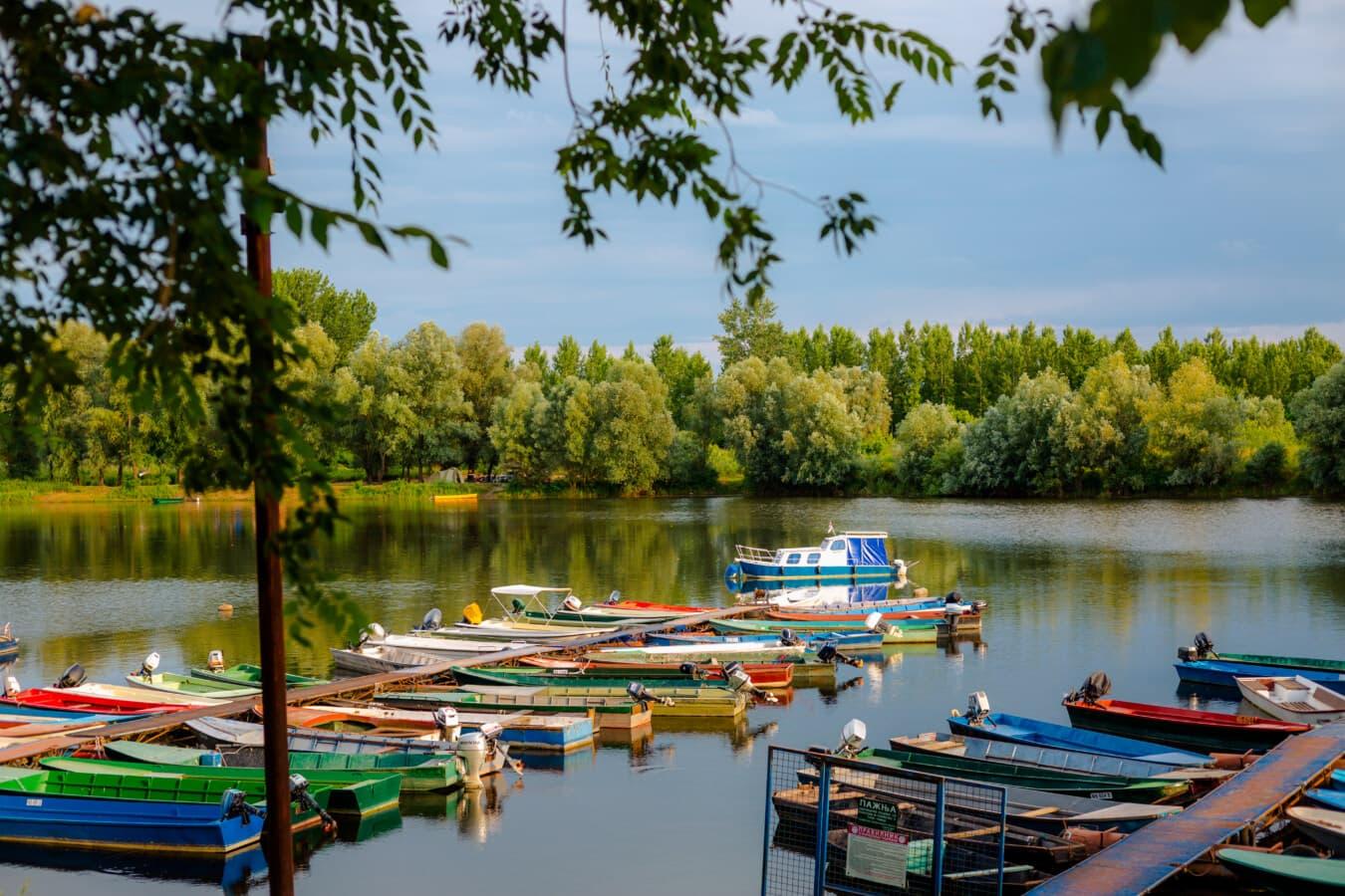 лодки, канал, док, летен сезон, курортната зона, лодка, навес за лодки, вода, яхт клуб, езеро