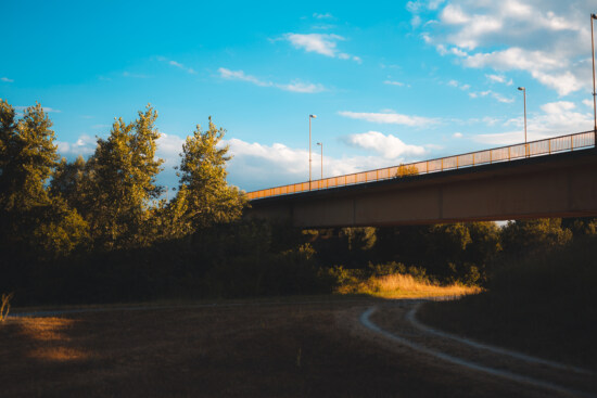 old, bridge, pathway, route, structure, landscape, road, tree, sunset, outdoors