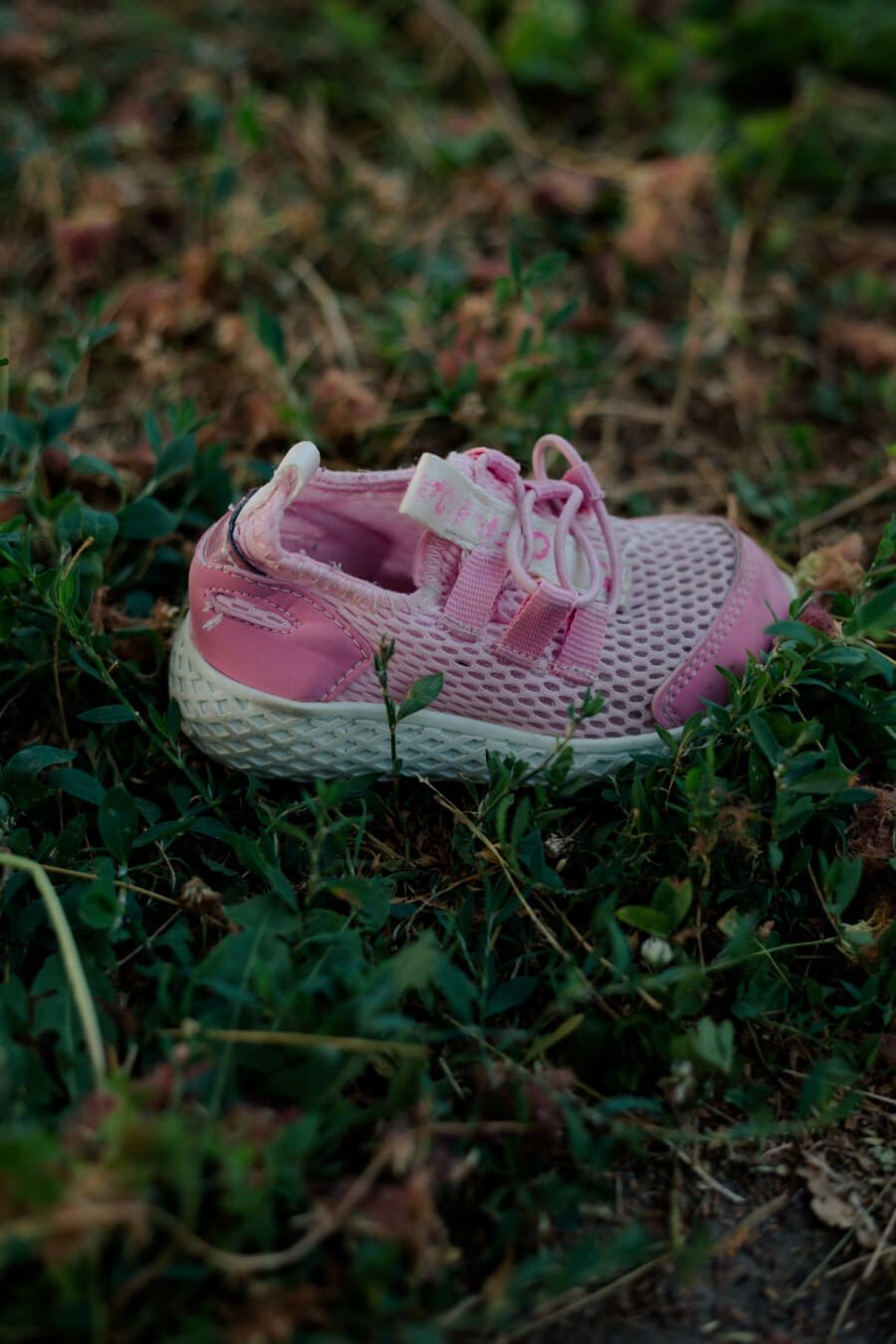 baby, pinkish, sneakers, footwear, grass, covering, outdoors, nature, fashion, flower