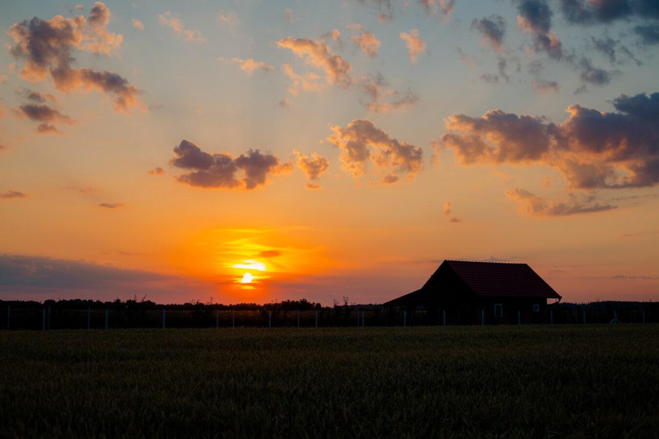 rayos de sol, salida del sol, tierras de cultivo, granja, casa de campo, agricultura, agricultura, sol, estructura, construcción