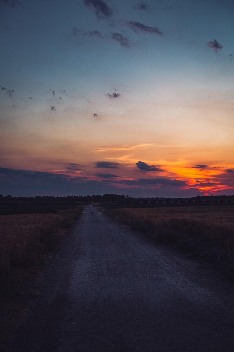 crépuscule, coucher de soleil, crépuscule, rural, Itinéraire, domaine, Agriculture, nuages, atmosphère, Star