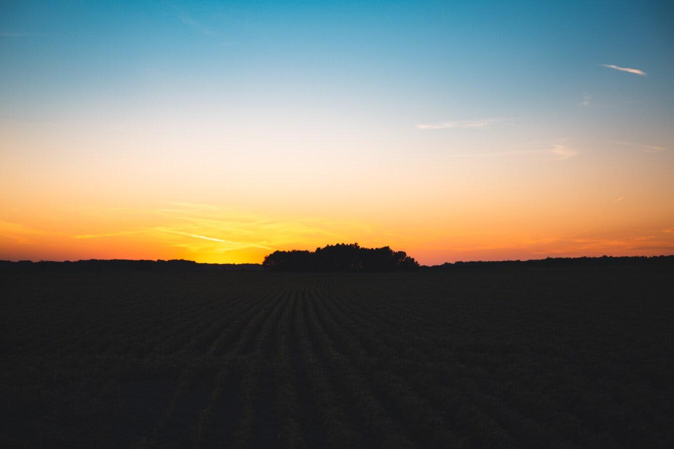 night, twilight, field, agriculture, sunset, farmland, clouds, dawn, landscape, star