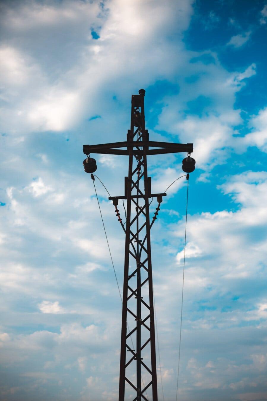Verteilung, Strom, Pol, Elektro, Turm, Antenne, Kabel, Draht, Energie, Spannung