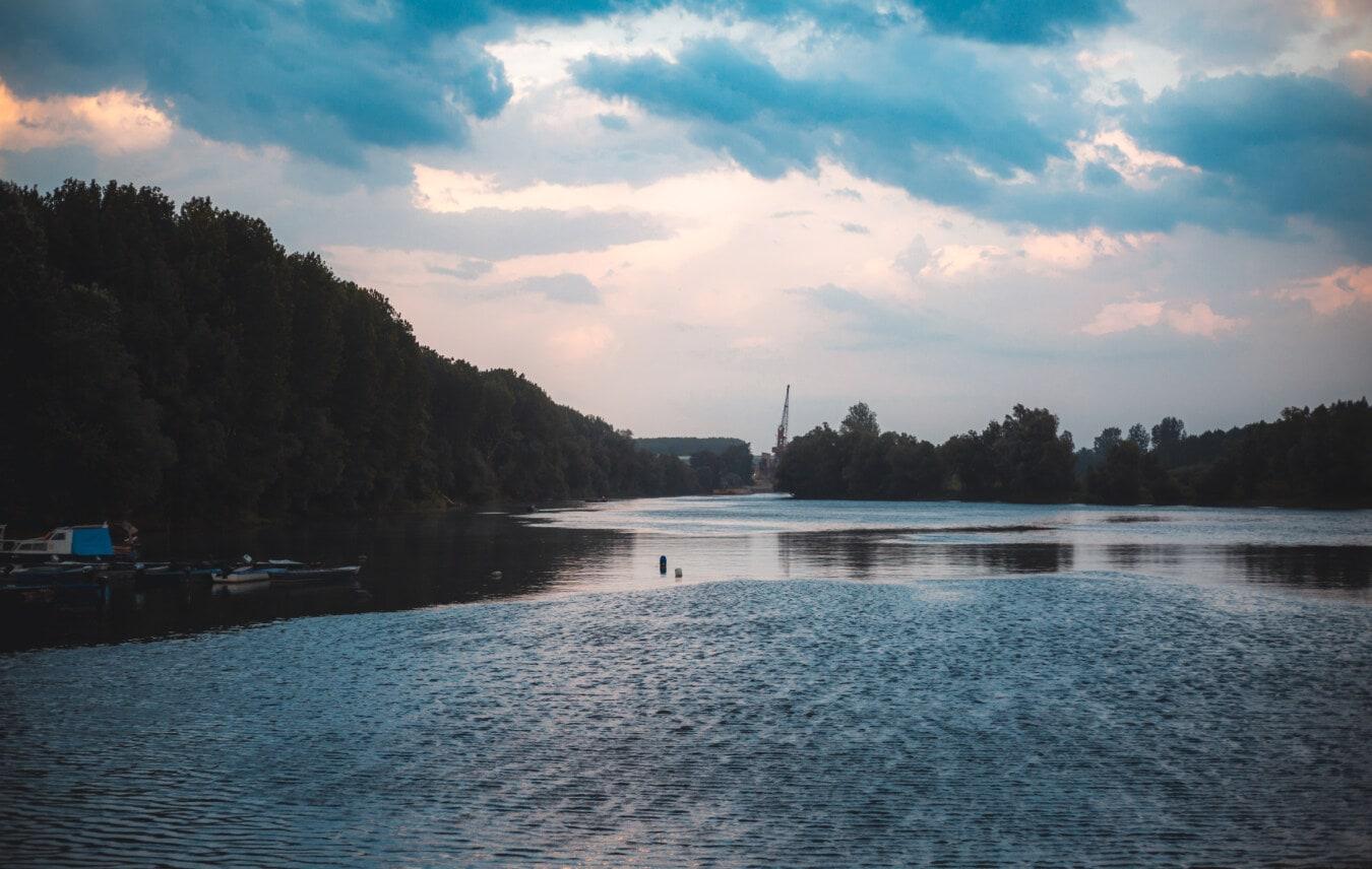 dusk, twilight, waves, lakeside, basin, lake, shore, water, landscape, nature