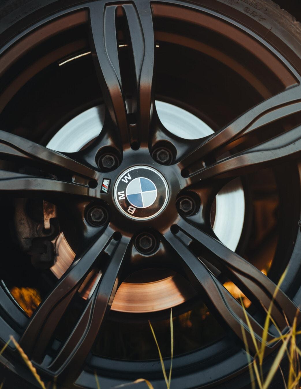 Schwarz, BMW, Legierung, Reifen, Aluminium, Felge, aus nächster Nähe, Fahrzeug, Maschine, Mechanismus