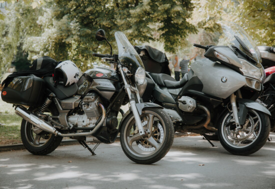 motorbike, parking, parking lot, motorcycle, vehicles, BMW, headlight, windshield, steering wheel, transportation