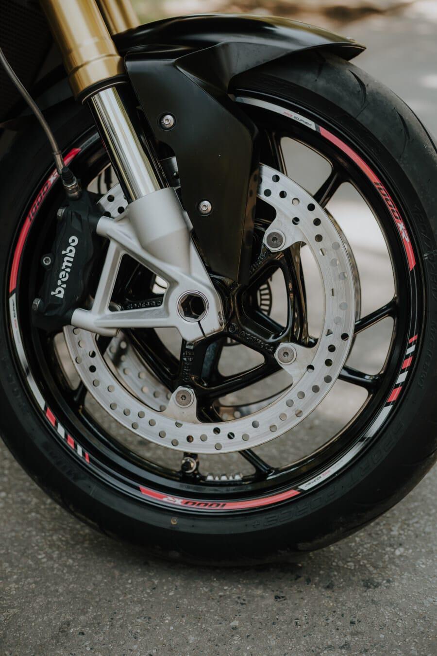 tire, disk, brake, motorbike, motorcycle, rim, aluminum, wheel, bike, vehicle