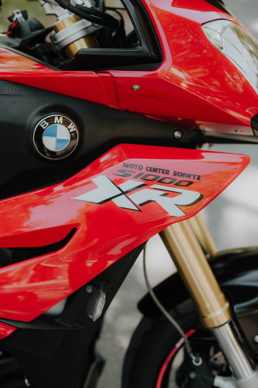 BMW, motorbike, motorcycle, close-up, modern, expensive, red, paint, glossy, race