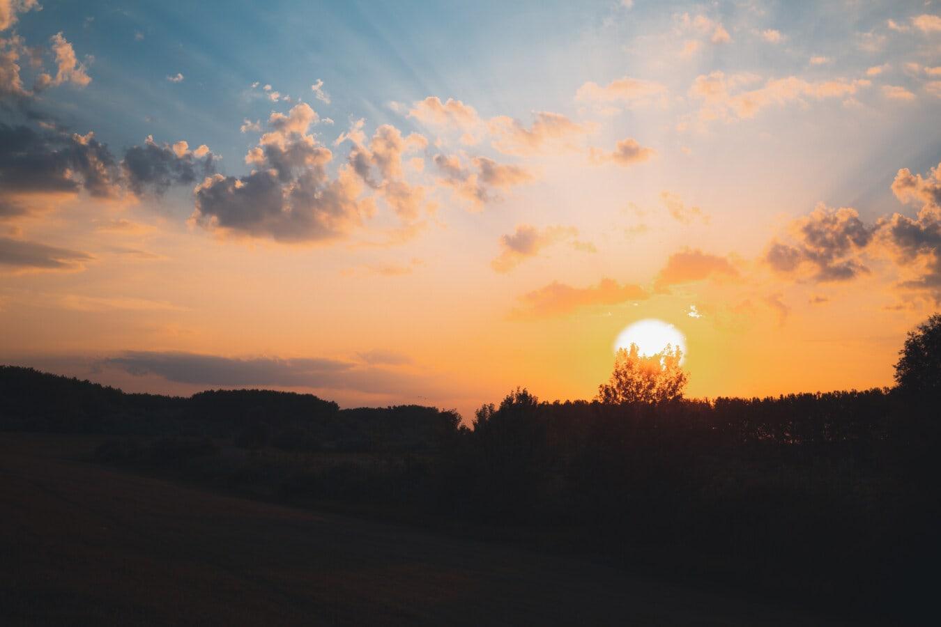 východ slunce, podsvícení, slunečních paprsků, Dawn, slunce, krajina, západ slunce, večer, soumraku, silueta