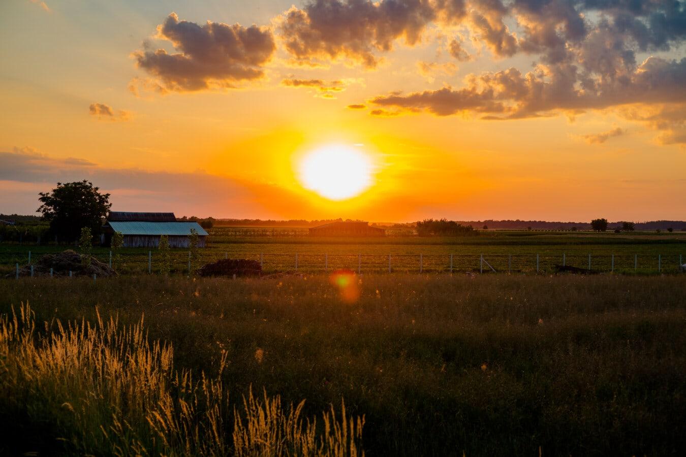 salida del sol, granja, tierras de cultivo, rayos de sol, paisaje, atmosfera, puesta de sol, estrella, amanecer, sol
