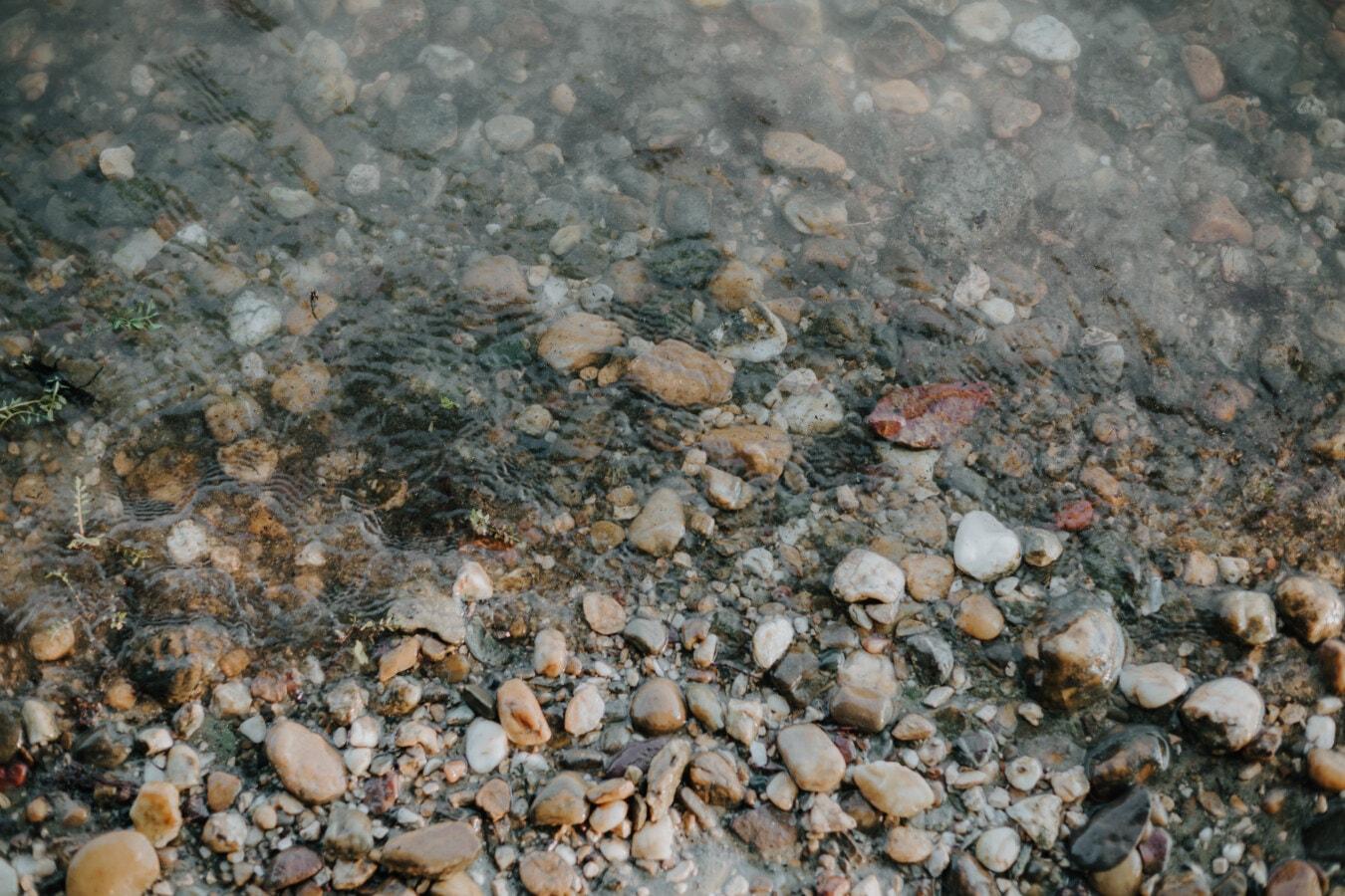 cailloux, lit de la rivière, pierres, berge, texture, Pierre, Roche, surface, modèle, gris
