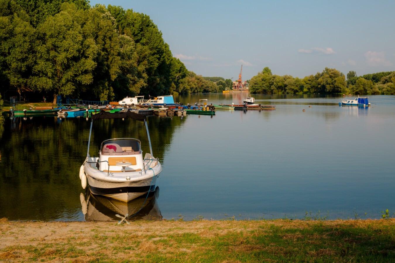 speedboat, motorboat, lakeside, boat, water, shed, shore, boats, landscape, river