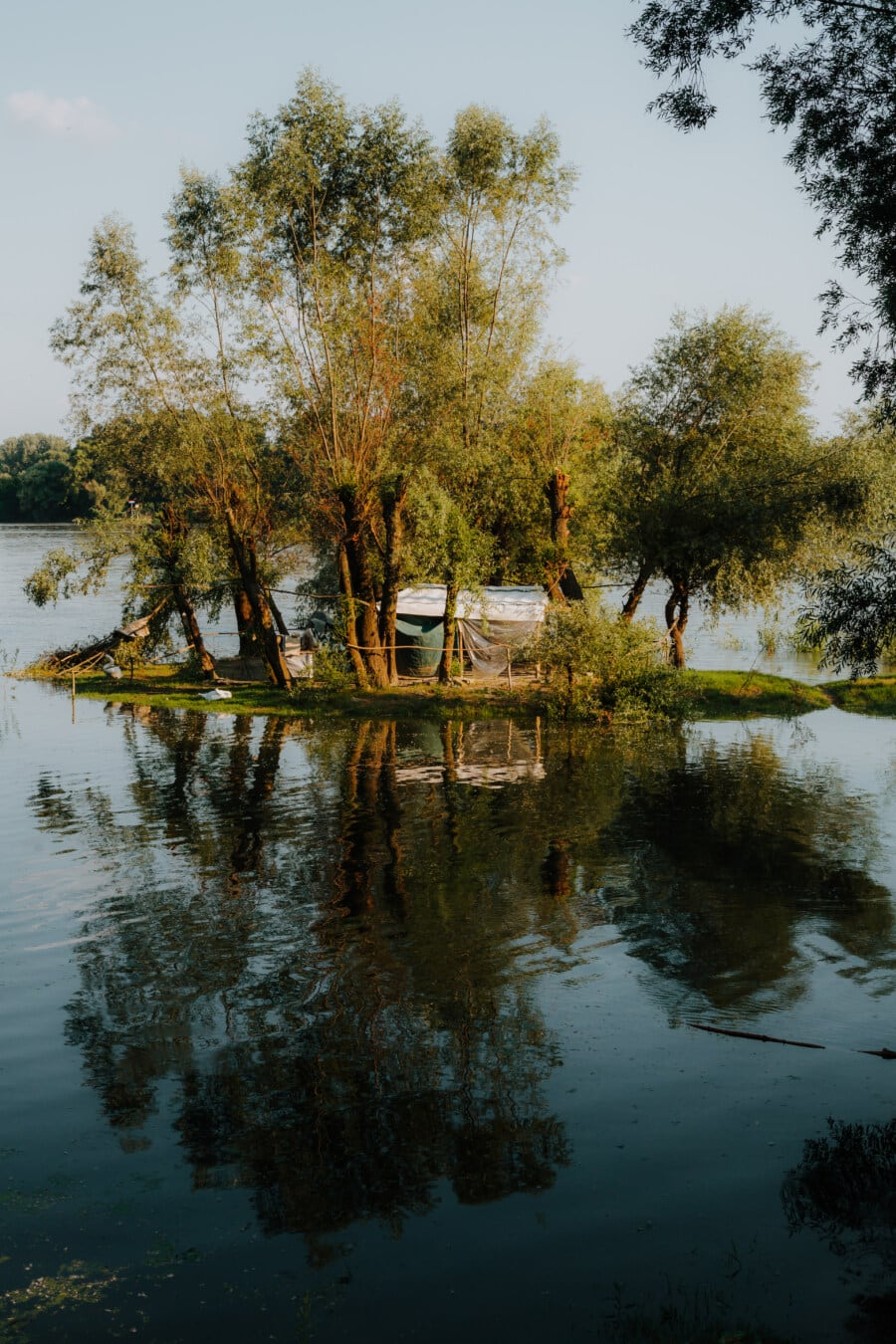tent, camping, floodplain, flood, river, riverbank, lake, water, tree, landscape