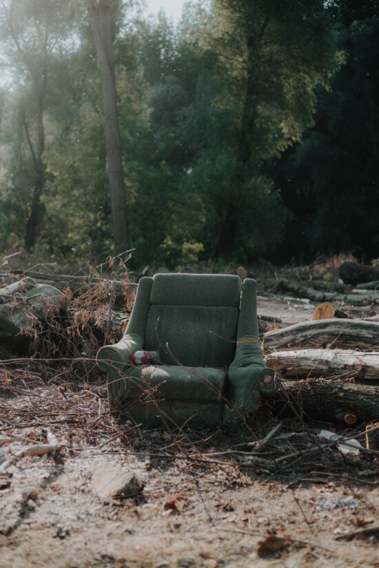 old, armchair, trash, garbage, forest, firewood, recycling, landscape, tree, seat