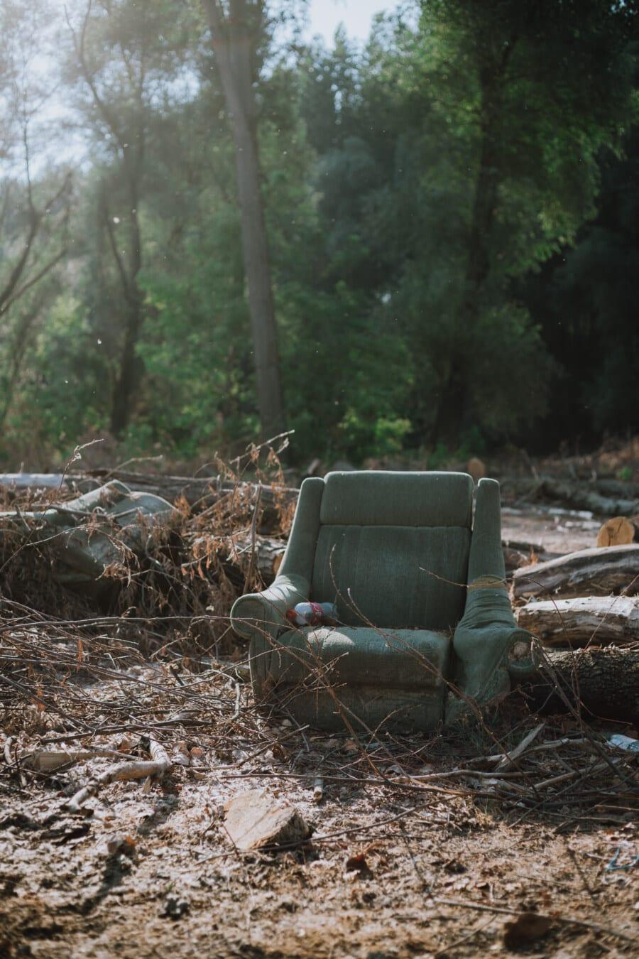 fauteuil, carie, vert, style ancien, poubelle, sale, garbage, forêt, bois de chauffage, bois