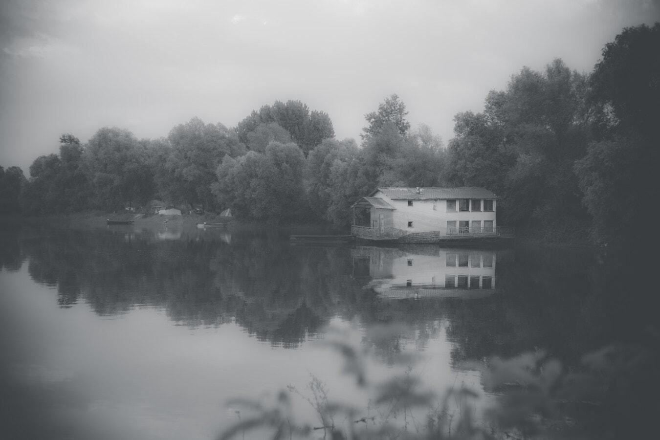 навес за лодки, Черно и бяло, Lakeside, идиличното, атмосфера, навес, архитектура, дърво, вода, пейзаж