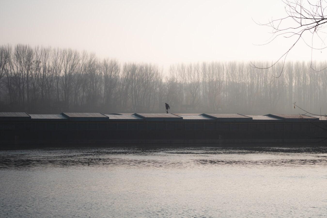 teretni brod, barka, transport, Dostava, otpremnica, magla, osoba, udaljenost, krajolik, jezero